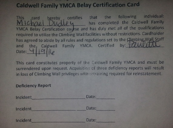 Belay YMCA Cert.